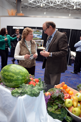 Photo of Janet Hawk of NJSNA and Secretary Fisher at the USDA Foods Show