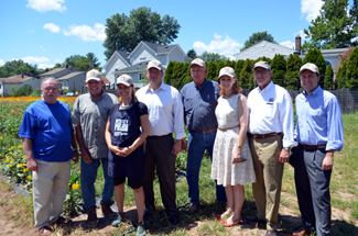 Secretary Fisher with Senator Tom Kean and Assemblywoman Nancy Munoz at Dreyer Farms
