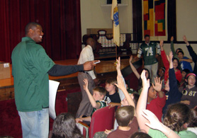 Photo of D Brickashaw Ferguson at Halsted Middle School - Click to enlarge