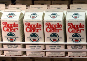 Photo of apple cider containers at Delicious Orchards - Click to enlarge