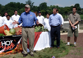 Photo of Secretary Kuperus, Senator John Adler and Springdale Farms owner John Ebert - Click to enlarge