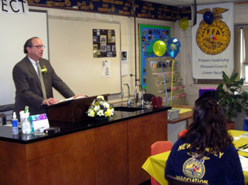 Photo of Secretary Fisher speaking at Allentown High School FFA Sponsors Breakfast