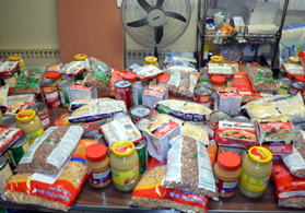 Photo of donated food at a food pantry - Click to enlarge