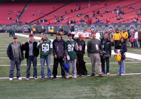 Photo of Hunterdon Central students and officials on the field at Giants Stadium - Click to enlarge