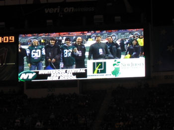 Photo of video played on jumbo tron at Giants Stadium honoring Hunterdon Central