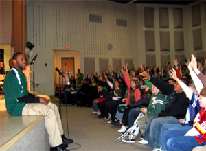 Photo of NY Jets Marques Murrell at Berkeley Twp Elementary School