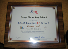 Photo of plaque awarded to Osage by USDA - Click to enlarge