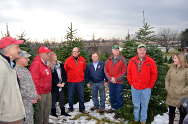 Photo of the 2014 tree-cutting ceremony at Perfect Christmas Tree Farm