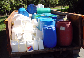 Photo of pesticide containers for recycling - Click to enlarge