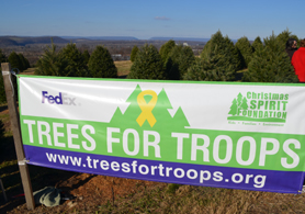 Photo of Trees For Troops sign - Click to enlarge