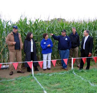 Photo of officials in VonThun corn maze