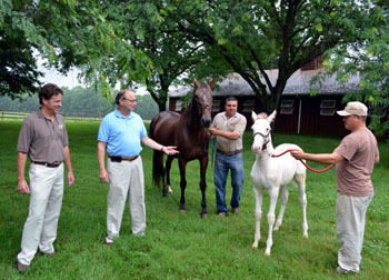 Photo of Mark Mullen and Secretary Fisher with the white colt and his mother