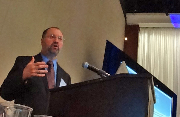 DRBC Water Quality Assessment Manager John Yagecic presents at the AWWA-NJ's annual conference. Photo by DRBC.