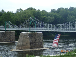 Picture of the Bulls Island-Raven Rock Pedestrian Bridge on the Delaware River. Photo by DRBC.
