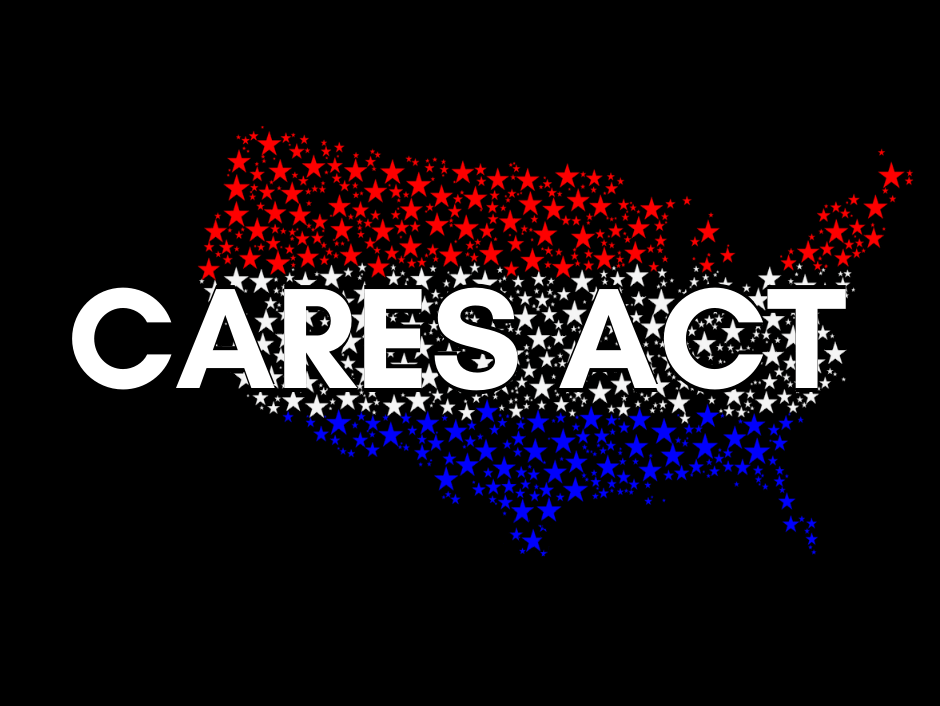 Cares Act imageo on top of an image of the united state