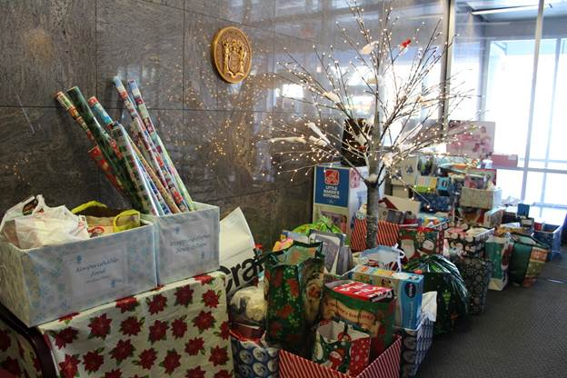 Gifts donated by New Jersey Department of Education staff for families at HomeFront.