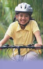 girl with bicycle helmet