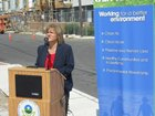 "Michele Horst, executive director of the State Employment Training Commission, spoke during the Camden press conference with the Department of Environmental Protection on ""green training."""
