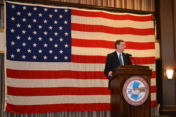 Deputy Labor Commissioner Aaron R. Fichtner, PhD delivered remarks at the 122nd Annual Peter J. McGuire Labor Day Observance in Collingswood.