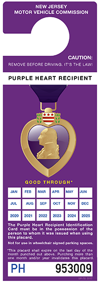 Nj Window Tint Law >> New Jersey Motor Vehicle Commission - Disabled Veteran, Purple Heart Recipient Placards