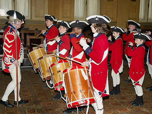 The Fifes & Drums of the Old Barracks perform during Patriots' Week festivities