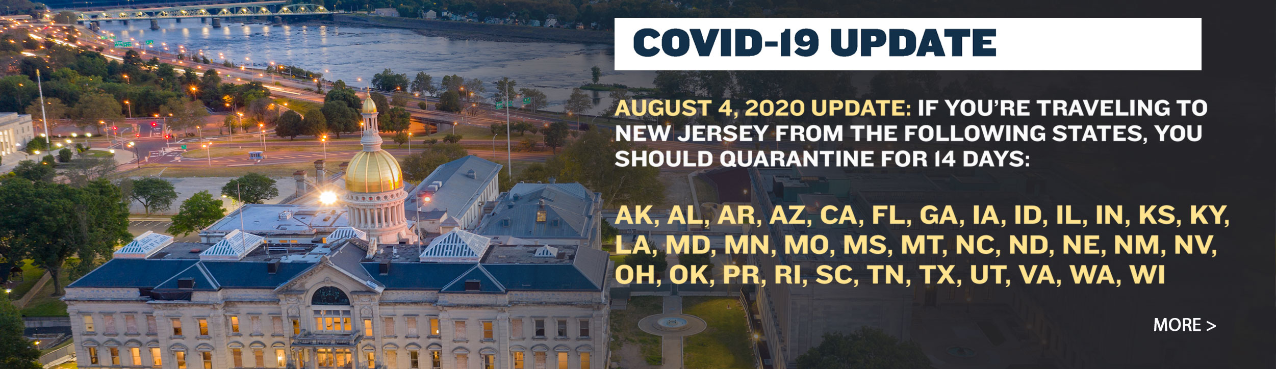 Updated Quarantine Advisory Issued for Individuals Traveling to New Jersey from Rhode Island, Bringing New Total to 35 States and Territories