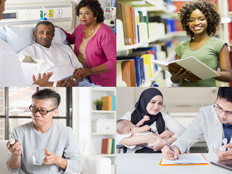 Photo collage of people in different settings. (Man in hospital bed)(Woman reading a book in library)(Man looking at medicine)(Woman filling out paperwork with a doctor)