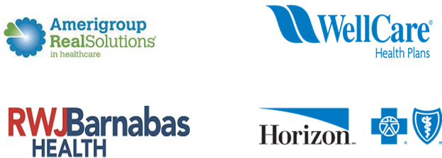 Logos: Amerigroup Real Solutions | WellCare Health Plans | RWJ Barnabas Health | Horizona Blue Cross Blue Sheild